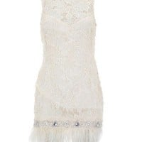 Lipsy V I P Lace Beaded Detail Feather Hem Shift Dress