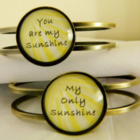 You Are My Sunshine Bracelet Set. You Are My Sunshine, My Only Sunshine. Antique Brass Tone Bangles.