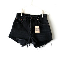 "Waist 29"" Black High Waisted Vintage Levi Shorts"
