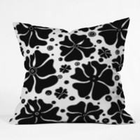 DENY Designs Home Accessories | Madart Inc. Abstract Flower Black White Outdoor Throw Pillow