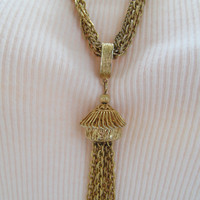 Corocraft tassel necklace, 5 strand necklace, collectible jewelry