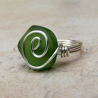 Bottle Green Sea Glass Ring:  Silver Swirl Wire Wrapped Emerald Beach Jewelry, Size 5