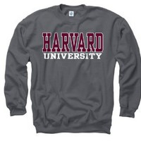 Harvard Crimson Charcoal Straight Line Crewneck Sweatshirt