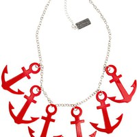 Sourpuss – Anchors Aweigh Necklace In Red/Silver | Thirteen Vintage