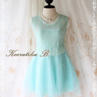 Kiss The Night - Party Wedding Bridesmaid Prom Cocktail Night Dancing Dress Light Blue Color Organza Skirt Delicate Princess Romance Dress