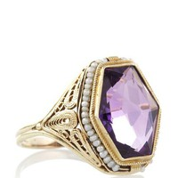 Doyle & Doyle Art Deco Amethyst & Pearl Filigree Ring at MYHABIT