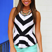 All The Right Places Peplum Top: Black | Hope's