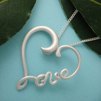 Silver Heart Wirework Necklace, Love Heart Pendant with Chain, Symbol Jewelry