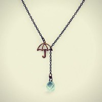 umbrella necklace with blue crystal raindrop