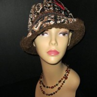 Mens Vintage Hat with braided cord and feather trim Brown Tapestry | madhatsandmore - Accessories on ArtFire