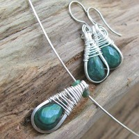 Emerald Necklace Earrings Set, Liquid Silver, All Handmade Sterling