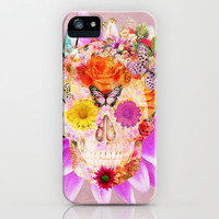 Fruity Psychedelic Skull | Pink Purple Girly Sugar Skull cute Butterfly Flowers iPhone & iPod Case by Girly Trend