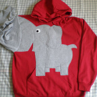Elephant trunk sleeve HOODIE Bright Red UNISEX MEDIUM