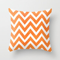 orange chevron Throw Pillow by her art