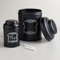 Black Chalkboard Metal Canister