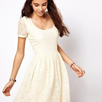 ASOS Skater Dress In Aztec Lace at asos.com