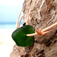 Hawaiian Bright Olive Green Beach Glass on India Leather Cord Completely Adjustable & Stackable Bracelet