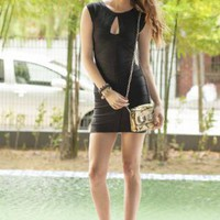 Black Sleeveless Keyhole Bandage Dress