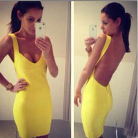 Yellow backless sexy dress