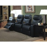 Showtime Collection Black Leather Motion Home Theater Sofa Couch Chair