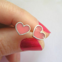 Silver Earrings - Pink Heart Stud Earrings - Sterling Silver and Resin - Valentine