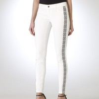 Skinny Cropped Jean with Border Print