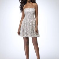 Metallic Lace Strapless Dress