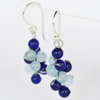 Amazon.com: Lapis Lazuli and Blue Agate Gem Stone Silver Earring Blue Grape Handmade By Flower Gemstone: Arts, Crafts & Sewing