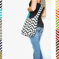 Chevron Purse. Boho Bag. Cross Body Hobo Bag. 12 Chevron Fabric Choices. Reversible Purse. Mix n Match Chevron and Solids. Summer Line.
