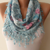 New Scarf - Mother's Day Gift - Light Blue Scarf with Same Color Trim Edge - Flowered Fabric - Summer Colors