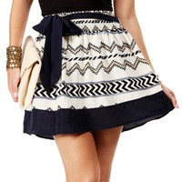 White/Navy Tie Waist Aztec Print Skirt
