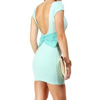 Mint Scuba Bow Back Short Dress