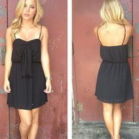 Black Sleeveless Dress with Bow Front & Scoop Back