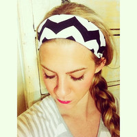 Black Chevron - Fabric Headband