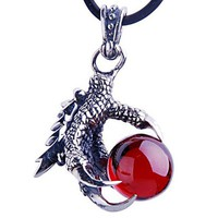 Silver Eagle Claw Garnet Pendant Necklace