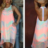 Neon Print Hi-Low Sleeveless Dress with Open T-Back