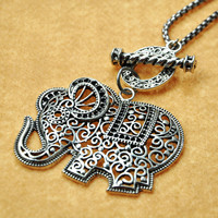 Elephant Pendants Long Necklace