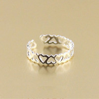Cute Sterling Silver Hollow Heart-shaped Ring