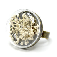 White dried Baby's breath hand blown glass antiqued by thestudio8
