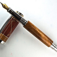 Handcrafted Wooden Pen Fountain Pen Maple Burl with Bloodwood  aluminum and wood accentsRhodium with Gold Titanium Hardware 441FPA