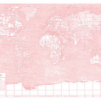 Her World - Pink and white Map of the World on stretched canvas
