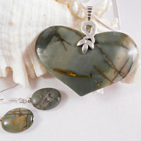 Picasso Jasper Pendant and Earrings