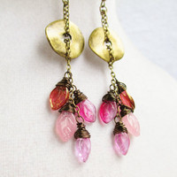Boho Pink Leaf Cluster Dangly Wire Wrapped Earrings