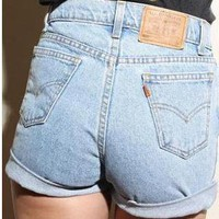 Vintage Levis Medium Blue Denim High Waisted SHORTS from Boutique 73