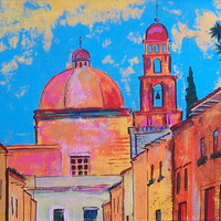 Original painting of Mexican church in San Miguel de Allende modern home decor original art acrylic  on canvas 36 x 24