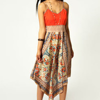 Emma Scarf Print Crochet Waist Dress