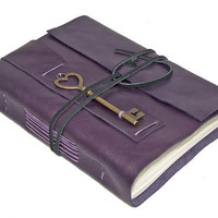 Purple Leather Journal with Heart Key Bookmark