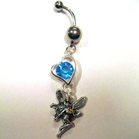 One Belly Button Ring Barbell Silver Tone & Sky Blue Heart and Fairy Dangle