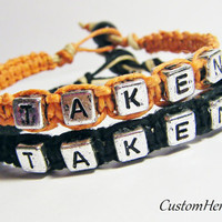 Taken Couples Bracelets Orange and Black MADE TO ORDER-3 Week production time