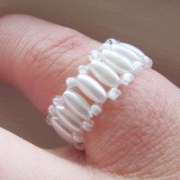 Beaded Ring, Bridal Accessory, White Ring, Beaded White Ring, Wedding Accessory, Bridesmaids Gift